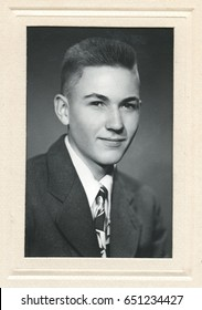 Framed high school portrait of a young man in the early 1950s