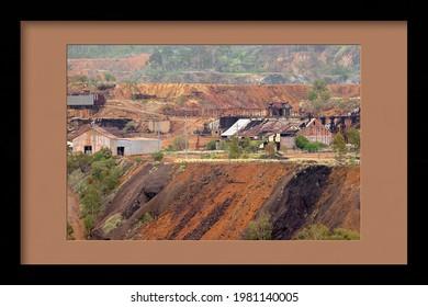 Framed image of the abandoned gold mine at Mt Morgan Australia