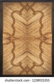 framed mende wood veneer board geometric pattern