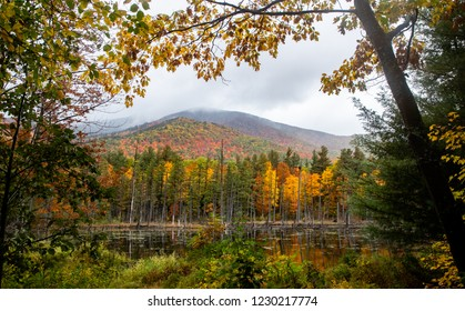 Framed Mountain View of Adirondack Mountains in the Fall