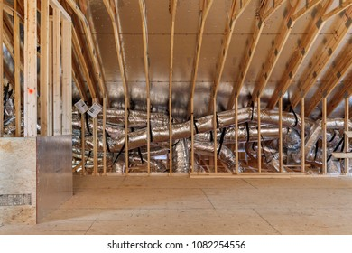 Framed top floor attic space with complete hvac unit