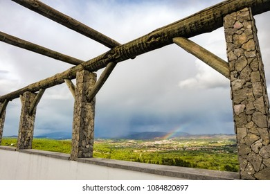 framed view hill landscape on cloudy day