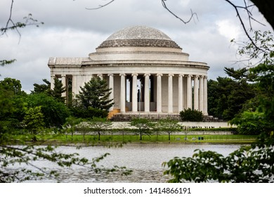 Framed view of The Jefferson Memorial from across the Tidal Basin in Washington DC, USA on 13 May 2019