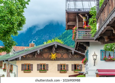 Frament of building and nature view in Oberammergau, Germany