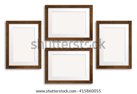Frames Collage Dark Brown Wooden Design Stock Photo (Edit Now ...