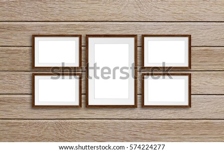 Frames Collage On Wooden Panels Wall Stock Photo (Edit Now ...
