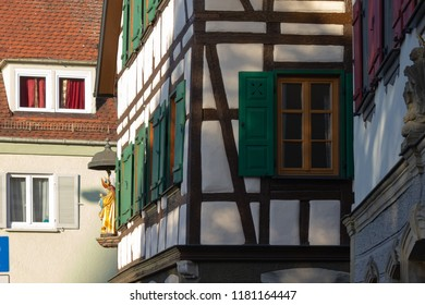 framework facade with window shutters on a sunny summer morning in south germany city schwaebeisch gmuend