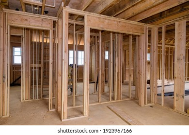Framing beam of new house under construction home beam construction