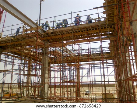 Framing construction for substation. Beam form work for beam concrete work. Steel frame at