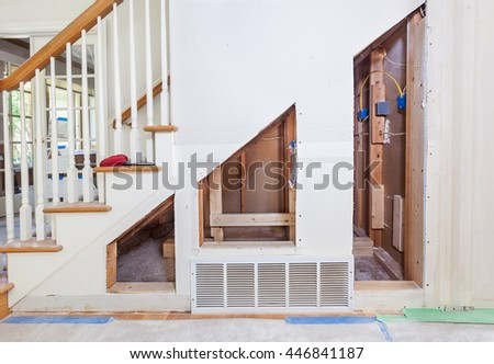 Framing Supports Under Stair Pullout Storage Stock Photo (Edit Now ...