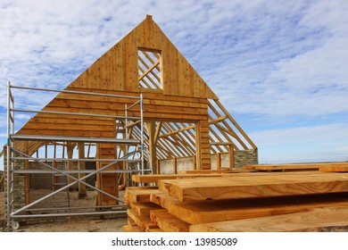 The framing of an unfinished stable