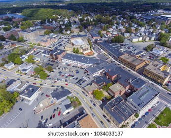 Framingham City Hall and downtown aerial view in downtown Framingham, Massachusetts, USA.