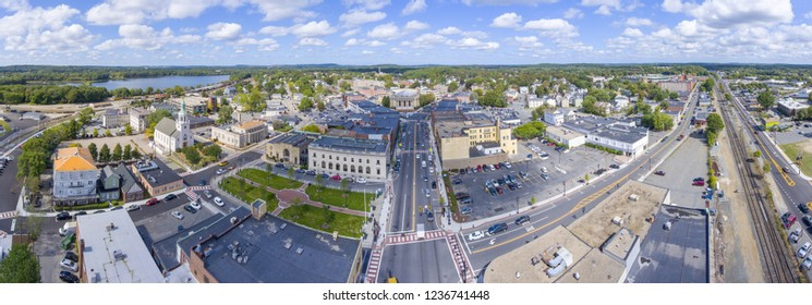 Framingham City Hall and downtown aerial view panorama in downtown Framingham, Massachusetts, USA.