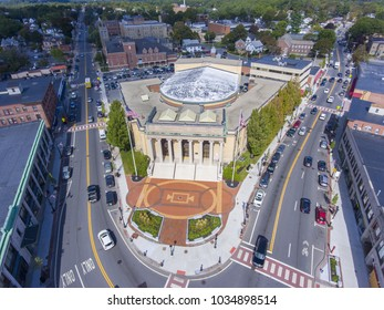 FRAMINGHAM, MA, USA - SEP. 27, 2017:  City Hall aerial view in downtown Framingham, Massachusetts, USA.