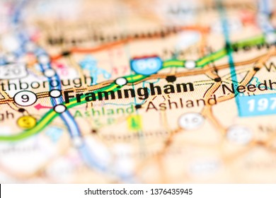 Framingham. Massachusetts. USA on a geography map