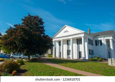 Framingham Old Town Hall on Framingham Centre Common Historic District in Framingham, Massachusetts, USA.