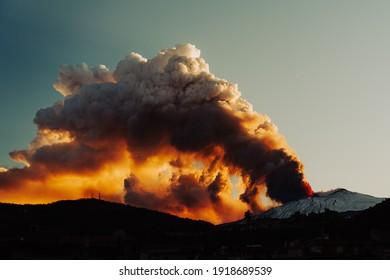 Francavilla di Sicilia, Messina, Italia - February 2 2021: Etna Eruption from Francavilla in the Alcantara Valley. Explosion