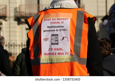 Périgueux, France - 15/04/2018 protesters against the speed limit at 80 km/h