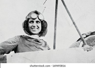 FRANCE, 1912: Reproduction of vintage photography of American pilot Harriet Quimby, who had become the first woman to pilot an aircraft across the English Channel, in France at Apr 16, 1912