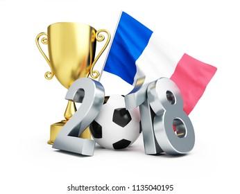 France 2018 Football winner on a white background 3D illustration, 3D rendering