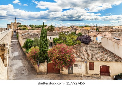 France, Aigues-mortes - July 09, 2014: Medieval ramparts in the city of Aigues-Mortes. France