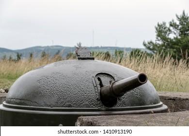 France, Alsace, June 2015:  Gun battery of 15 mm Howitzer cupolas at Fort de Mutzig, Fortress of Kaiser Willheim II