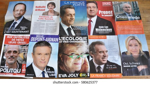 FRANCE, APRIL 2012 - French presidential election campaign flyers