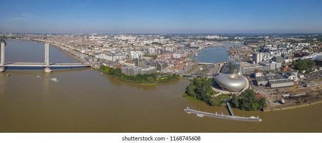 France, Aquitaine, Gironde, 33, Bordeaux Bastide, La Bastide, Pont Jacques Chaban Delmas, Cite du Vin, Aerial View, filmed by drone