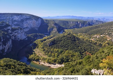 France, Ardeche Gorge. Bend of the river Ardeche