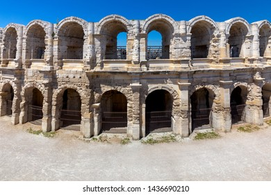 France. Arles. Old antique roman amphitheater arena.