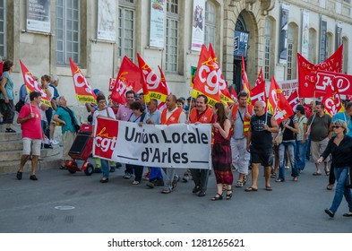 FRANCE ARLES SEP 2018 Side view of CGT General Confederation of Labour workers at demonstration protest against government string of reforms in Arles city of Provence France
