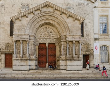 FRANCE ARLES SEP 2018  a view of the entrance to the Eglise Notre-Dame-la-Major church in Arles city of Provence France