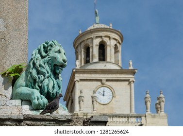 FRANCE ARLES SEP 2018  a view of the exterior of the Eglise Notre-Dame-la-Major church in Arles city of Provence France