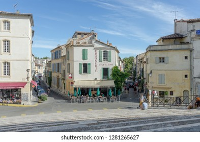 FRANCE ARLES SEP 2018  a view of the central square in Arles city of Provence France