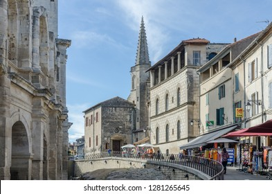 FRANCE ARLES SEP 2018  a view of the central street, tourist market and colloseum in Arles city of Provence France
