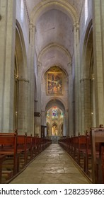 FRANCE ARLES SEP 2018  a view of the interiors of the Eglise Notre-Dame-la-Major church in Arles city of Provence France