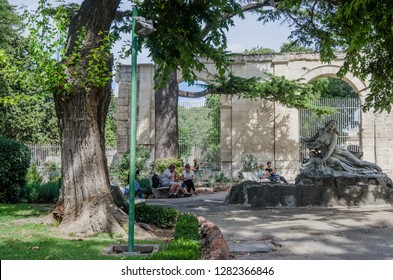 FRANCE ARLES SEP 2018 a view of the city park entrance in Arles city of Provence France