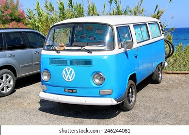 FRANCE - AUGUST 3, 2014: German classic van Volkswagen Transporter at the sea coast in the French Riviera.