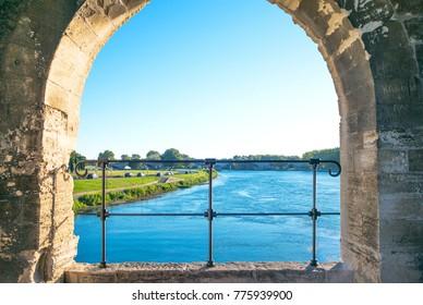 France, Avignon, the Rhone riverseen from the Benezet bridge, also known as the Bridge of Avignon