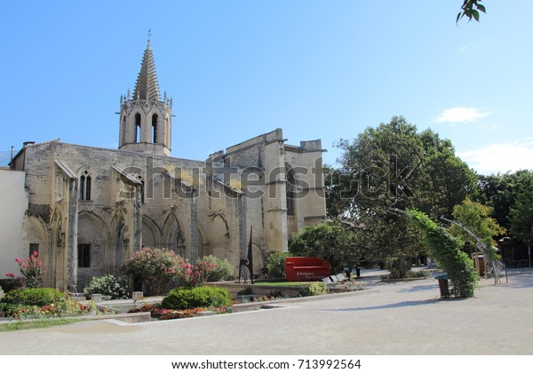 FRANCE, AVIGNON, RUE JEAN HENRI FABRE, JULY 31, 2017: Protestant church St Martial Temple in the city center of Avignon in France