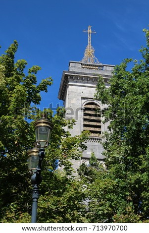 FRANCE, BESANCON,  PLACE DU 8 SEPTEMBRE, JULY 29, 2017: Tower of the Catholic Church Saint Pierre in the city center of Besancon in France