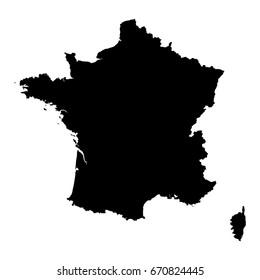 France Black Silhouette Map Outline Isolated on White 3D Illustration