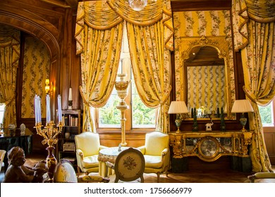 FRANCE, BORDEAUX, MAY, 19, 2019 - Luxurious golden baroque interior in Chateau de Mirambeau. Luxury boutique hotel located in the region of Poitou - Charente, Bordeaux region, France
