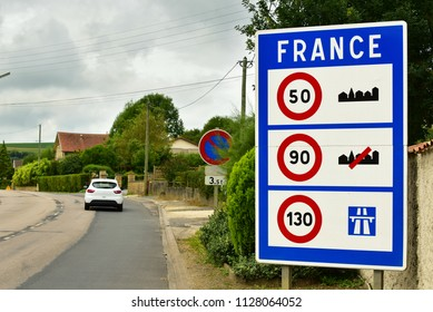 France border signboard. Sign of Speed limits at the border of France.
