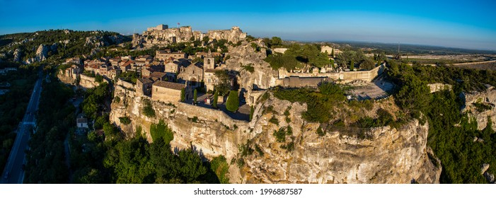 France. Bouches-du-Rhone (13) Aerial view of Les Baux de Provence, one of the most beautiful villages of France, located in the Alpilles