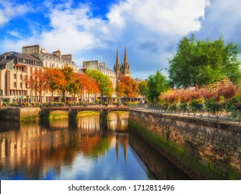 France Brittany river Odet and St Corentin Cathedral in Quimper