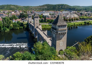 FRANCE CAHORS SEP 2018 view the medieval bridge in Cahors town.  The town is a place where the cahor wines are produced