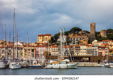 France, Cannes, French Riviera, city view from Le Vieux Port to Le Suquet - the Old Town
