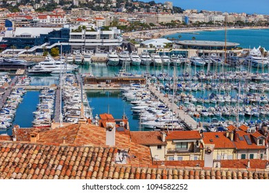 France, Cannes, resort city on French Riviera, yachts and sailboats at Le Vieux Port on Mediterranean Sea
