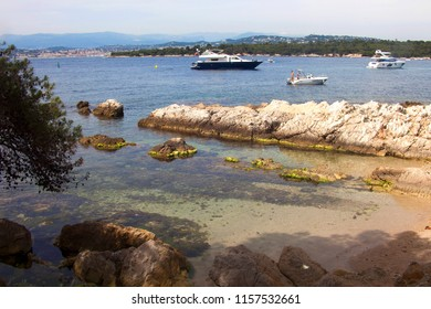 France, Cannes,Saint Honorat island, the boats moored in the bay